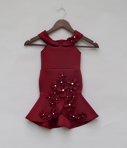 Maroon Lycra Fish Gown