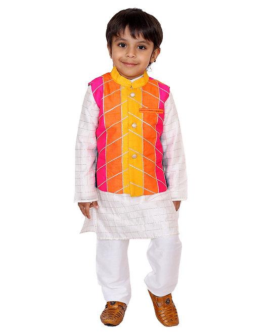 Multi Colour Nehru Jacket With Kurta And Pants
