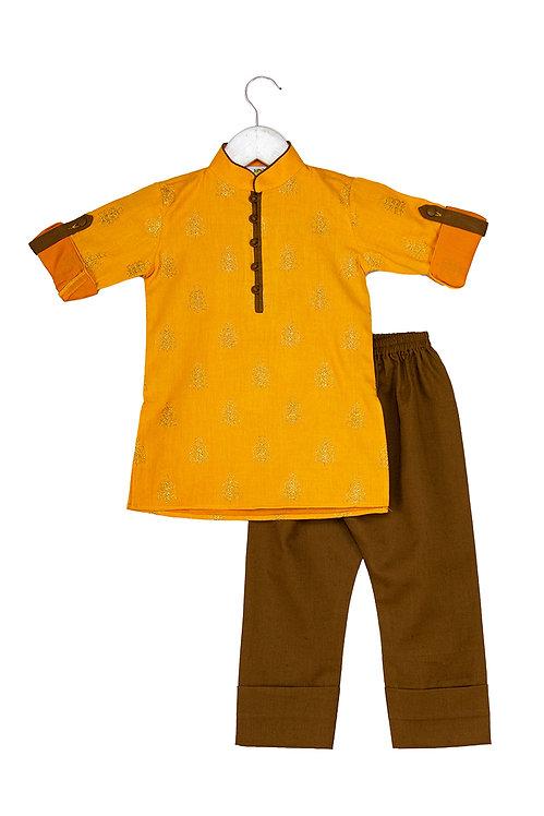 Booti Mustard Embroidered kurta and pyjama set