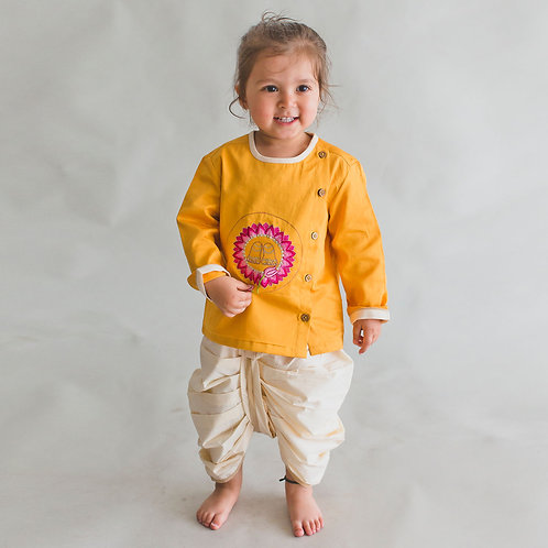 Baby Boy Yellow Dhoti Set Krishna Lotus Feet