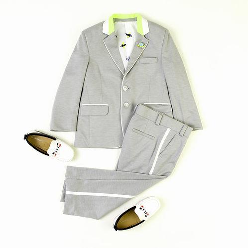 Grey Blazer With Neon White Detailed Collar