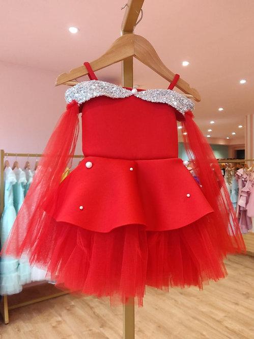 RS- Red Neoprene  Off Shoulder Dress