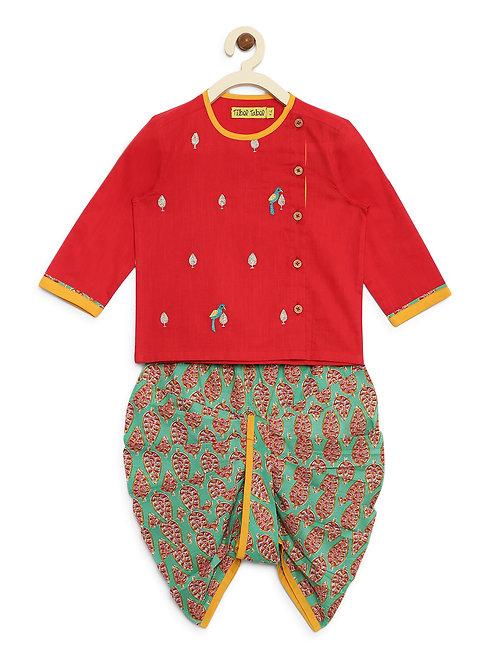 Baby Boy Red Parrot Dhoti Kurta Set