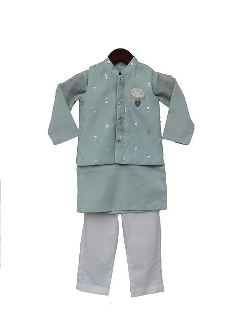 Blue Chanderi Nehru Jacket Set
