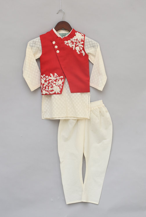 Red Embroidery Nehru Jacket with Kurta & Churidar