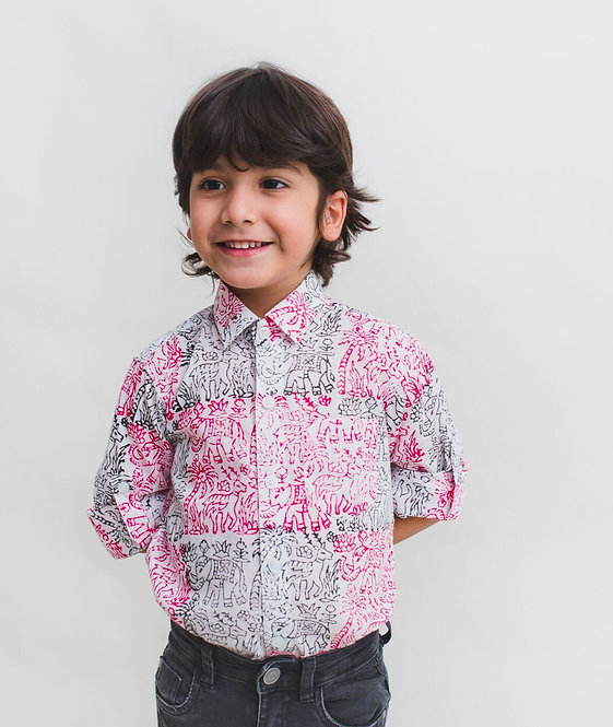 Cotton Regular Wear Bagru Block Print Shirt