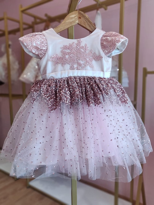 RS-Pink Sparkle Dress with Hair Accessory