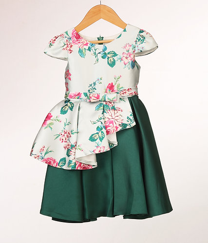 Green Peplum Floral Silk Dress