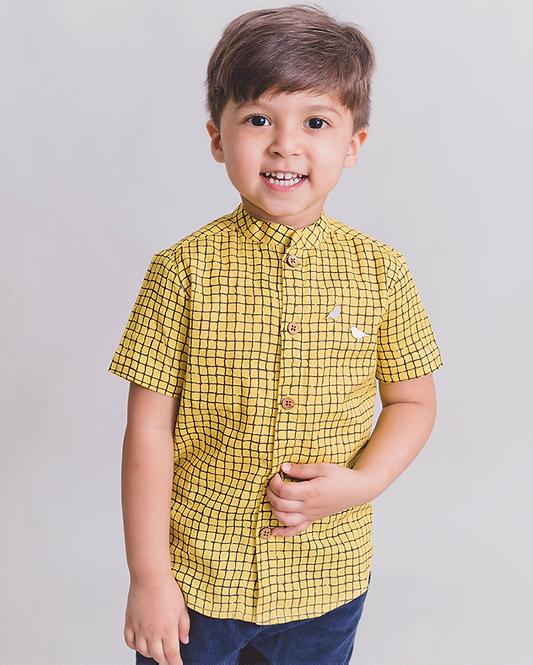 Boy Yellow Checks Shirt