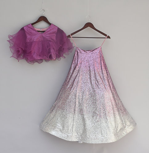 Purple Glitter Top with Lehenga