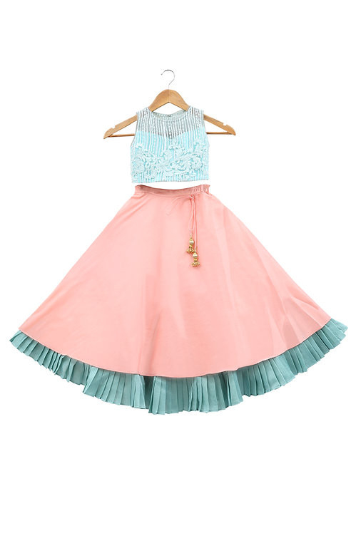 Blue & Peach Embroidered Top And Skirt
