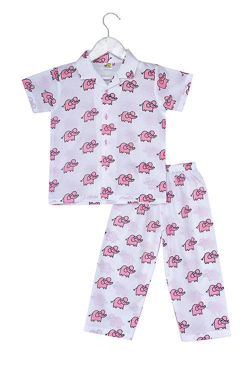 Printed half sleeve nightsuit set Ns Pink Ela