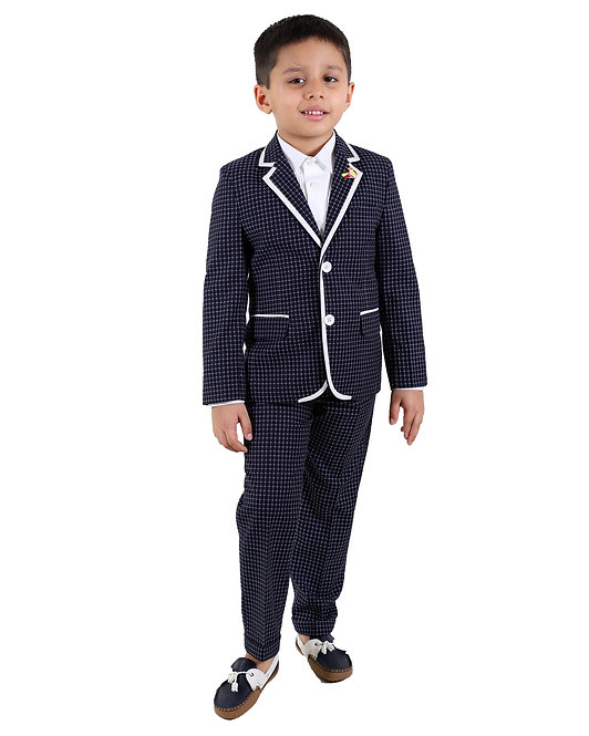 Checkered Notch Collar Suit