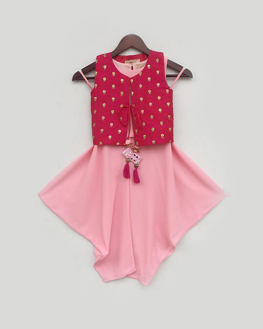 Pink Top and Dhoti with Hot Pink Jacket