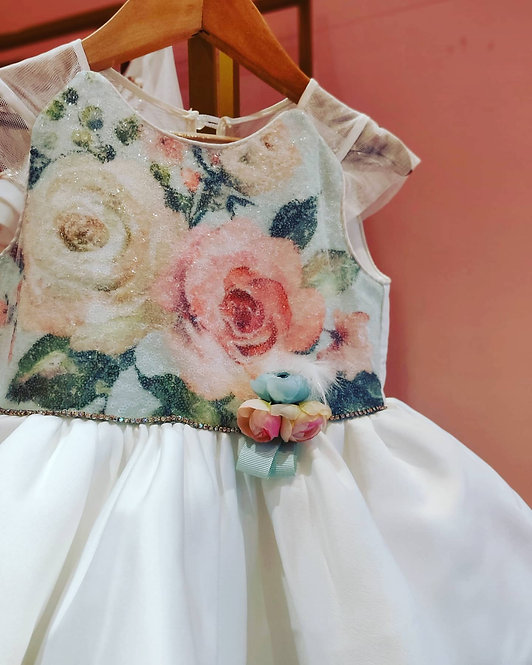 RS-Flower Sequins Floral Dress with Hair Accessory