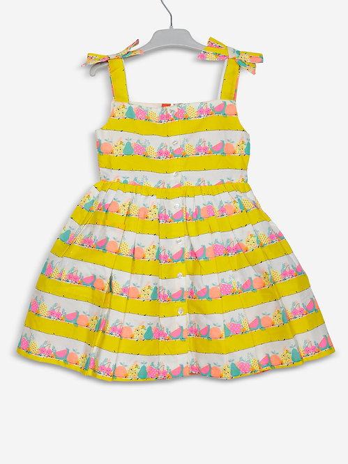 Printed Strappy Casual  Dress- Yellow