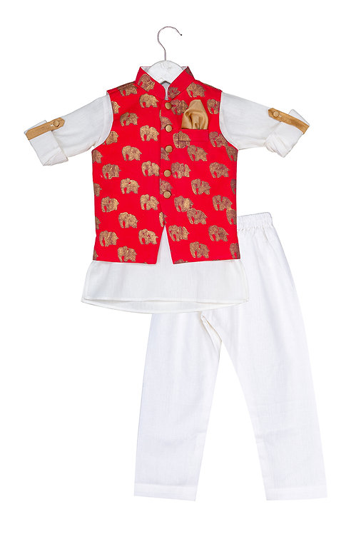Printed Jacket and Kurta Dhoti Ele Set Red