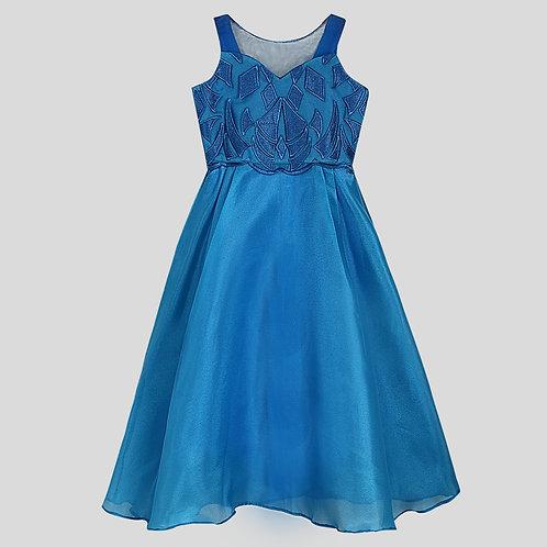 Cobalt Blue Peplum Layered Skirt Dress