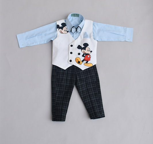 Disney Mickey Powder Blue Shirt with Black Check Pant Set
