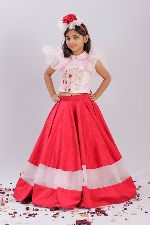 Horse Embroidered Top with Red Panel Skirt