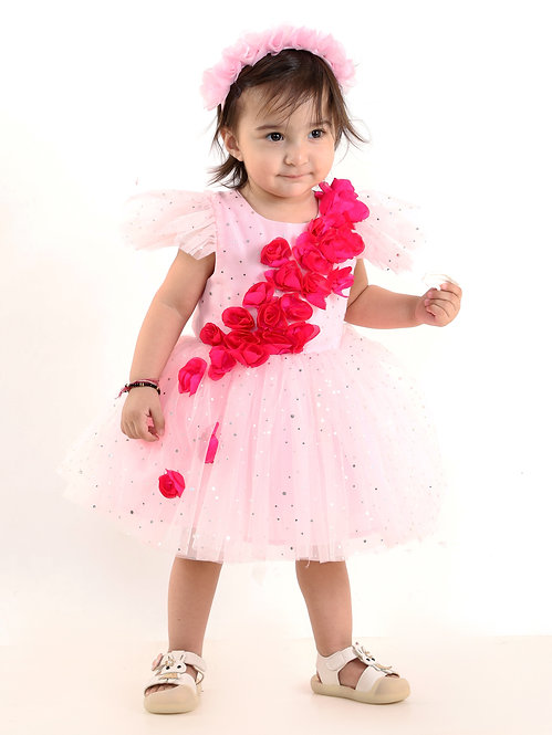 Baby Sparkling Pink Dress With Hand- Made Roses