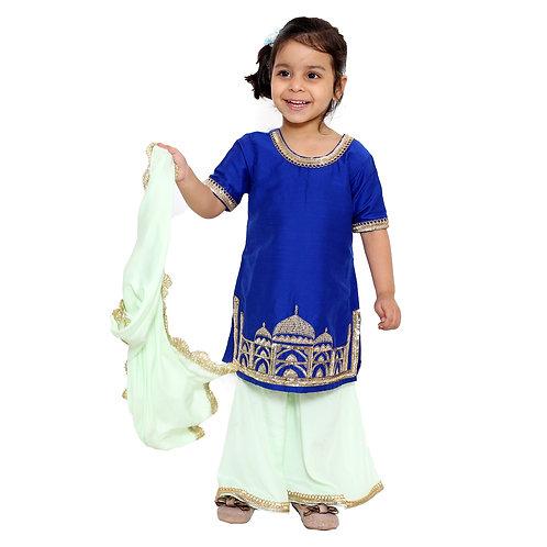 Blue Taj Mahal Kurta with Sharara