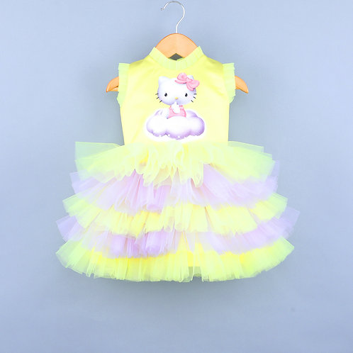 Kitty On Clouds Yellow Dress