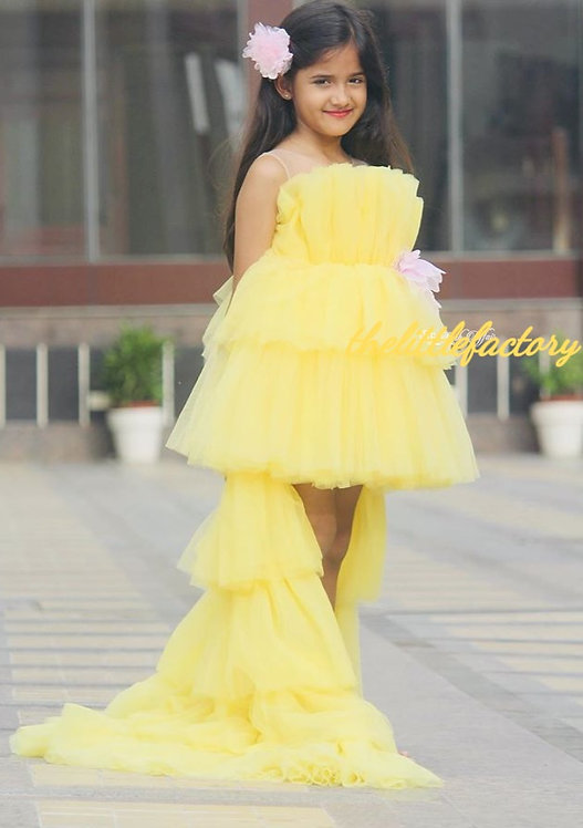 Veronica Yellow  Dress with Detachable Trail with Hair Accessory