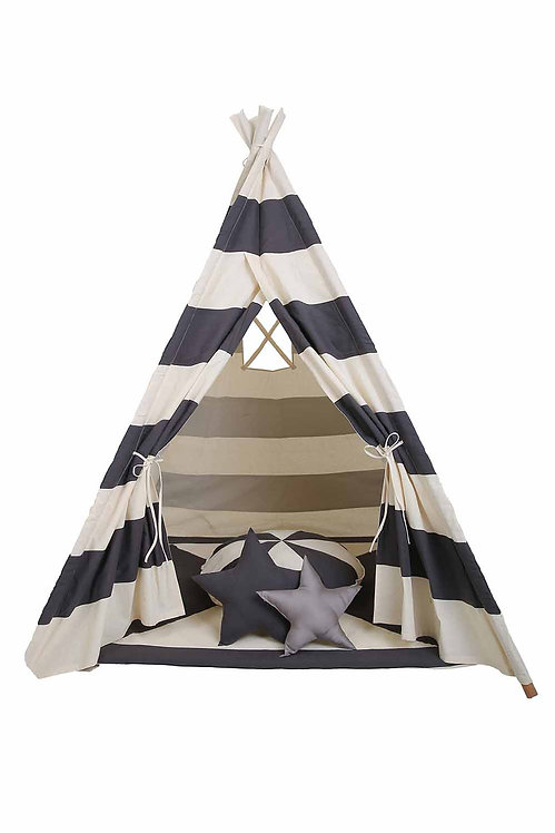 GREY STRIPED TEE PEE TENT WITH MAT AND CUSHIONS