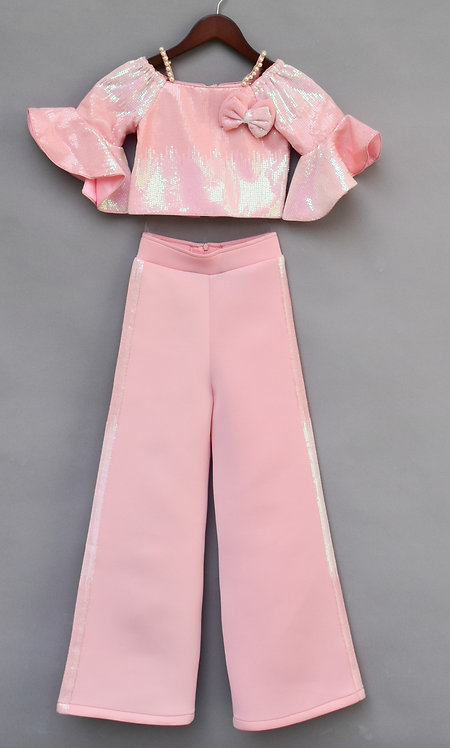 Baby Pink Sequin Top with Pant