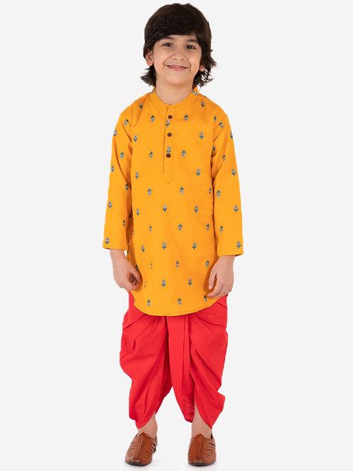 Boys Embroidered kurta with Dhoti Set- Mustard