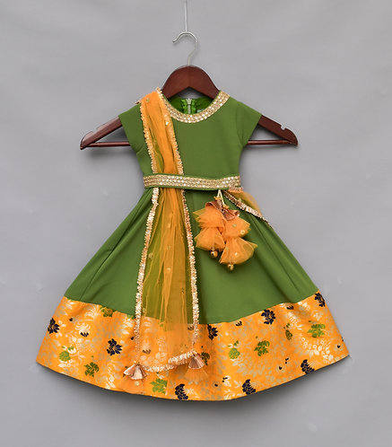 Mehandi Green Georgette Anarkali