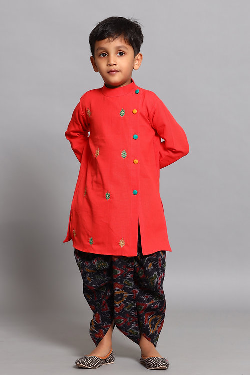 Red Sherwani With Black Dhoti