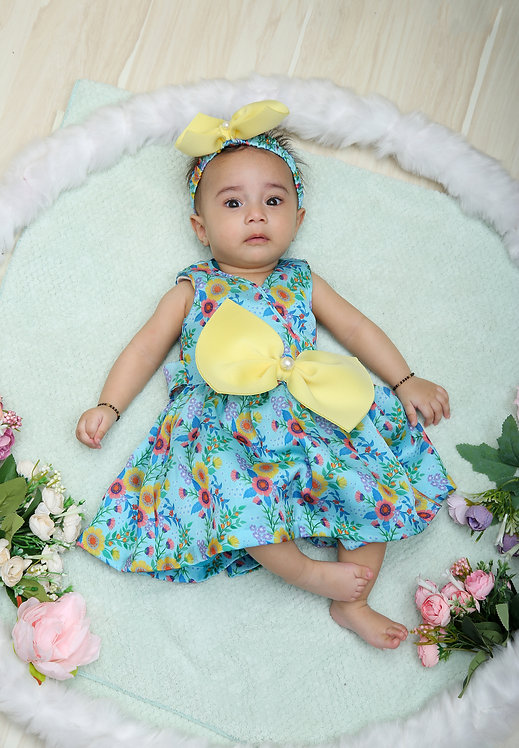 Blue Printed Dress with bow