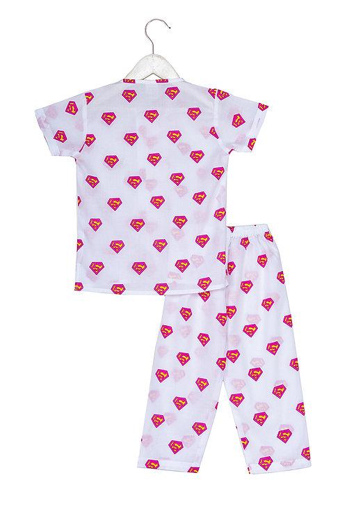 Printed half sleeve nightsuit set Ns Pink Ela Super Pink