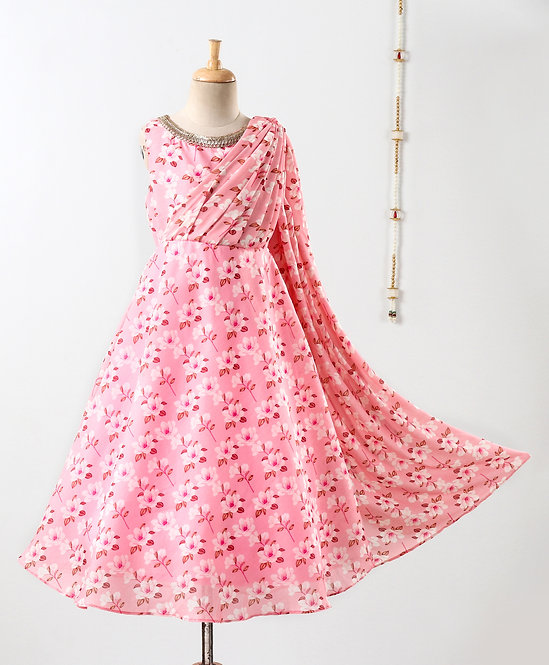 Stylish girls draped chanderi print party gown-Pink