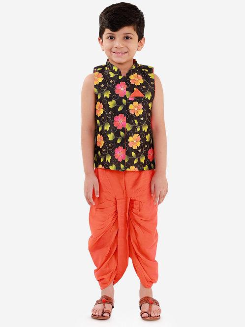 Stylish Boys jacket with dhoti set-Orange