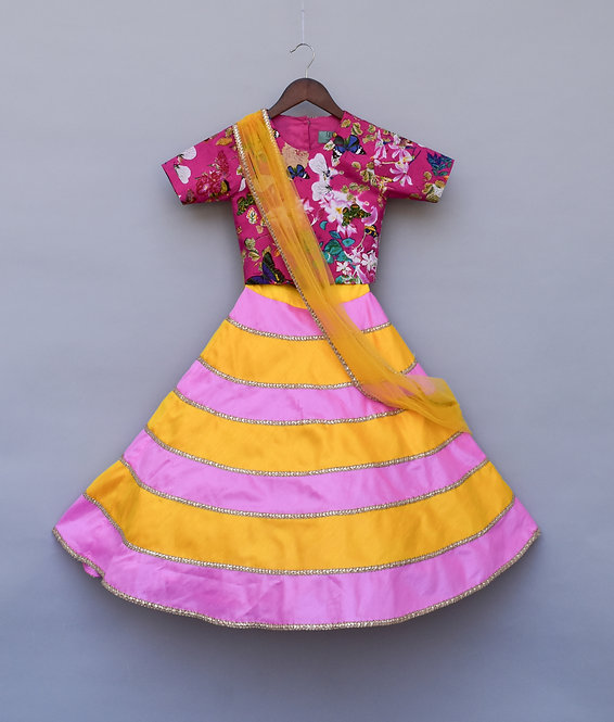 Pink Printed Choli with Lehenga