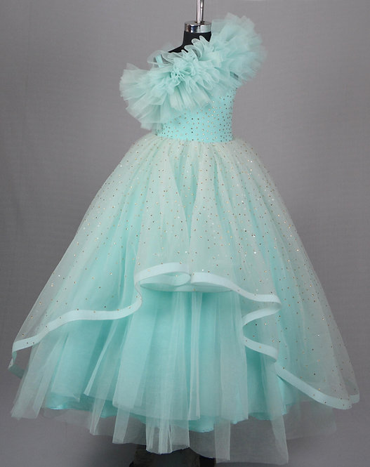 Sky Blue Golden Stone Gown