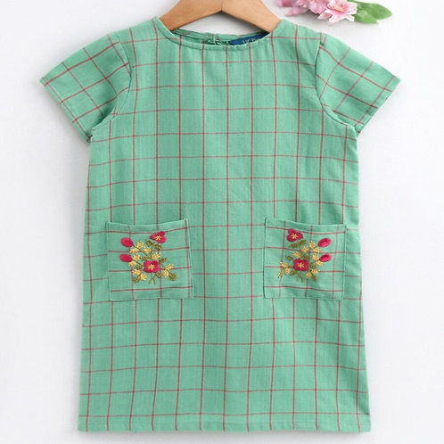 Stylish Girls Tunic Dress In Cotton Yarn Dyed Checks-Green