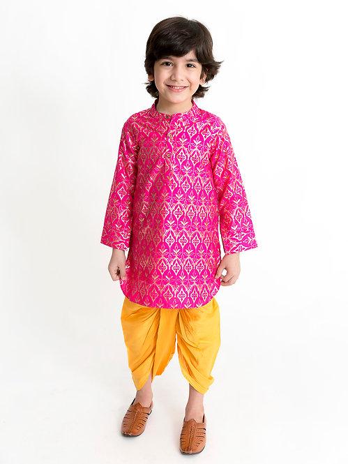 Stylish Boys Kurta Dhoti Set-Fucshia