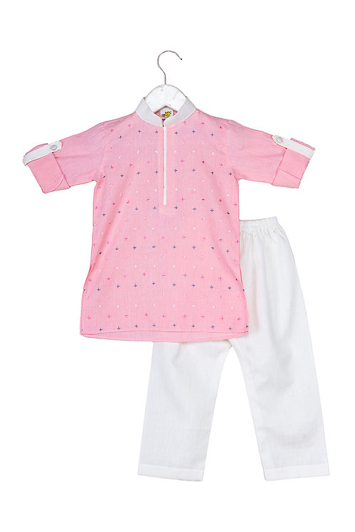 Cross Pink Embroidered kurta and pyjama set