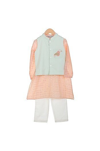 Peach Kurta Set With Embroidered Jacket
