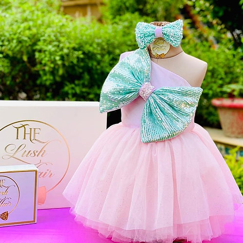 Glittery Bow Dress with Hair Accessory