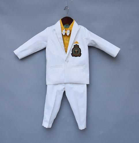 White Coat Set with Yellow Shirt