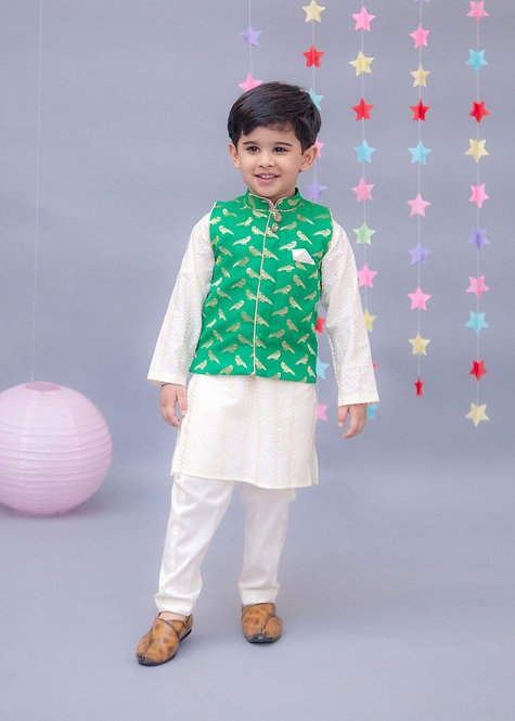 Green Brocade Nehru Jacket Set