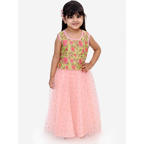 Stylish Girls Ghaghra Choli Set-Pink