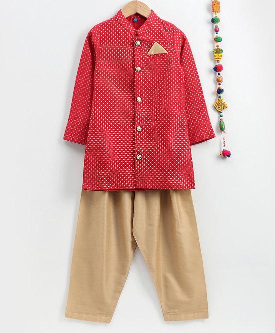 Stylish Boys Sherwani Pyjama Set- Red