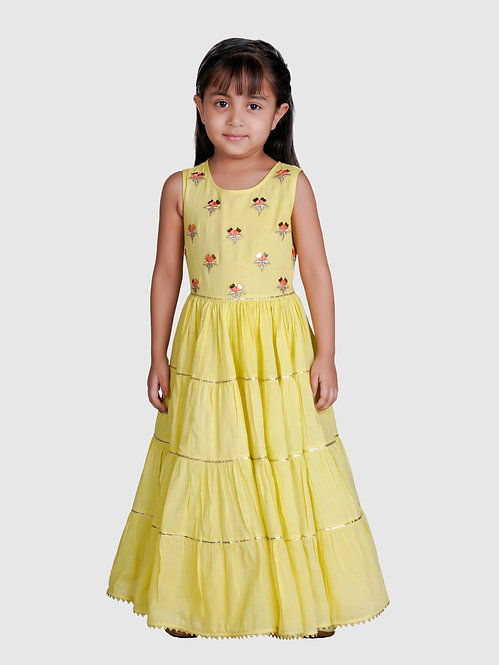 Tiered  Party Gown With Mirror Work &  Embroidery On Yoke-Yellow