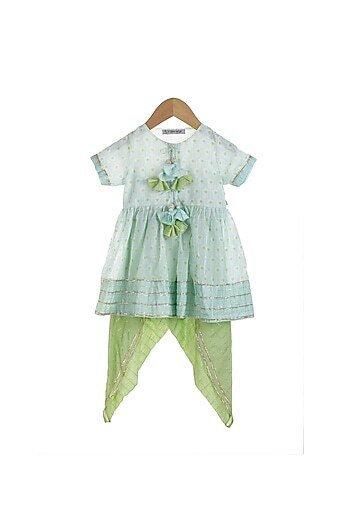 Sky Blue & Mint Green Printed Dhoti Set